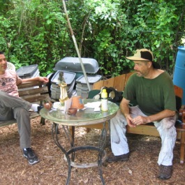 Edgar and TIm taking a break. Good work was done with compost and soil enrichment.
